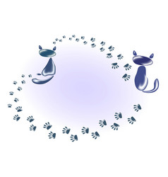 funny stylized decorative cat with a cat of vector image