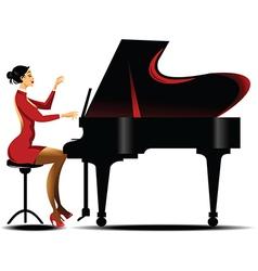 Girl playing piano vector image