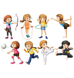 Girls doing different kinds of sport vector