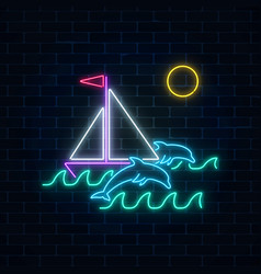 Glowing neon summer sign with sailing ship and vector