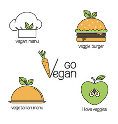 Go vegan icons set vector