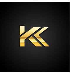 gold letter k logo symbol vector image
