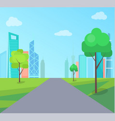 Green park in modern city with long asphalt road vector