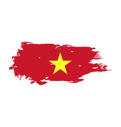 grunge brush stroke with vietnam national flag vector image