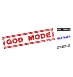 Grunge god mode scratched rectangle stamp seals vector