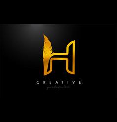 H golden gold feather letter logo icon design vector