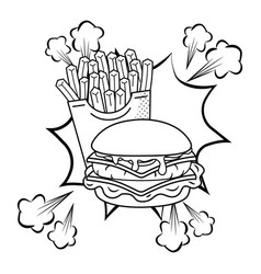 hamburger and french fries black and white vector image