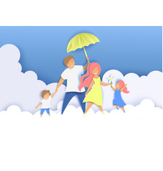 happy family in paper art vector image