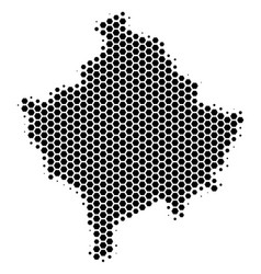 Hexagon halftone kosovo map vector