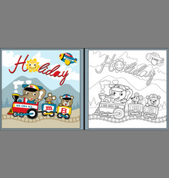 Holiday time with funny animals cartoon on train vector