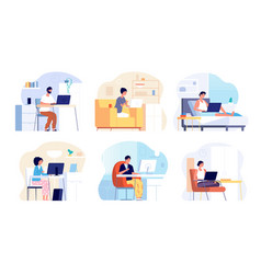 home office work from house busy woman man vector image