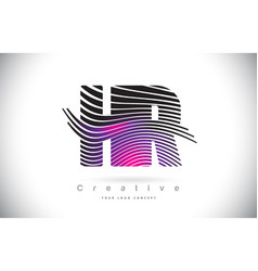 Hr h r zebra texture letter logo design with vector