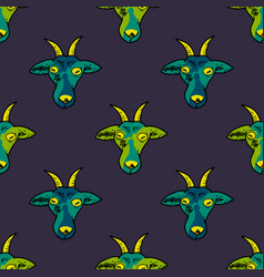 Hypnotic goat muzzle seamless pattern vector
