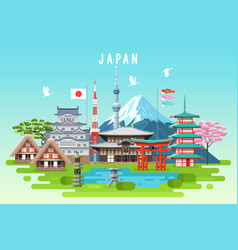 Japan travel infographic vector