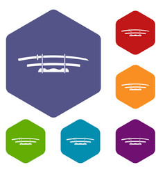 Katana japanese sword icons set hexagon vector