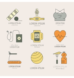 Line Fitness Icons vector