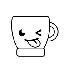 Line funny coffee cup kawaii cartoon vector