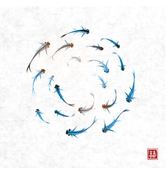 little blue fishes hand drawn with ink on rice vector image