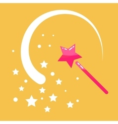 Magic wand stars flat icon cartoon vector image
