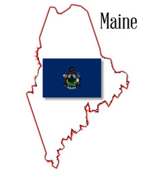 Maine state map and flag vector