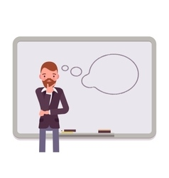 Man against the whiteboard with drawn dialogue vector image