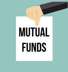 Man showing paper mutual funds text vector