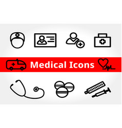 Medical and health icons for design set vector