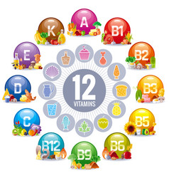 mineral vitamin multi supplement icons vector image