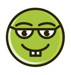 nerd funny smiley emoticon face expression line vector image