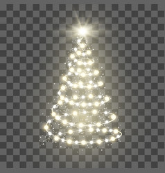 new year tree silhouette made of christmas lights vector image