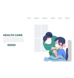 Nurse checking on patience in hospital health vector