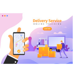 Online delivery services app with gps tracking web vector