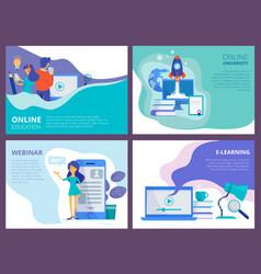 online education landing website promo page vector image