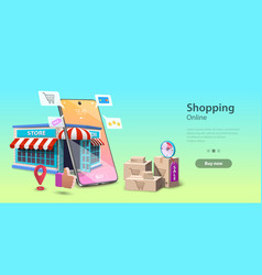 Online shopping landing page template mobile vector