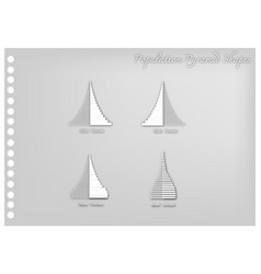 Paper art of 4 types of population pyramids graph vector