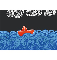 Paper ship floating on blue waves vector image