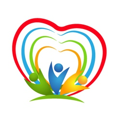 People heart connections logo vector image