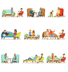 people talking to psychologist patients at a vector image