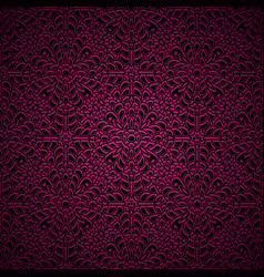 Pink chrochet lace pattern vector