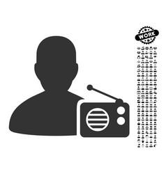 radio dictor icon with people bonus vector image