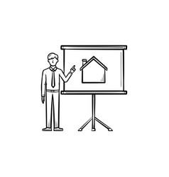 real estate presentation hand drawn outline doodle vector image