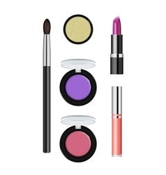 Realistic makeup cosmetics set vector