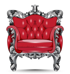 Red baroque armchair furniture with victorian vector