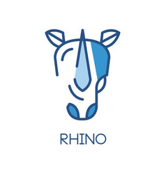 Rhino logo design blue label badge or emblem vector