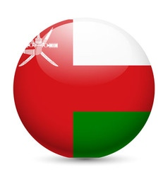 Round glossy icon of oman vector