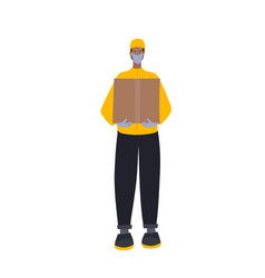safe delivery man courier character vector image
