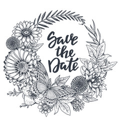 save date card with hand drawn flowers leaves vector image
