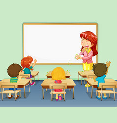 Scene with teacher coughing in classroom vector