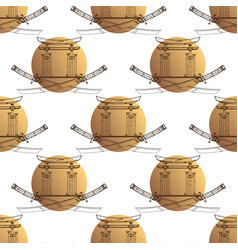 Seamless pattern from contour drawings of katana vector
