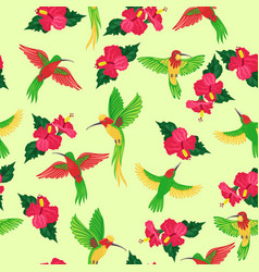 seamless pattern with hummingbirds and flowers vector image